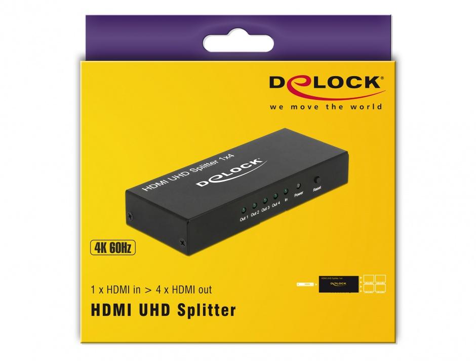 Imagine Multiplicator HDMI 4 porturi UHD 4K, Delock 18684
