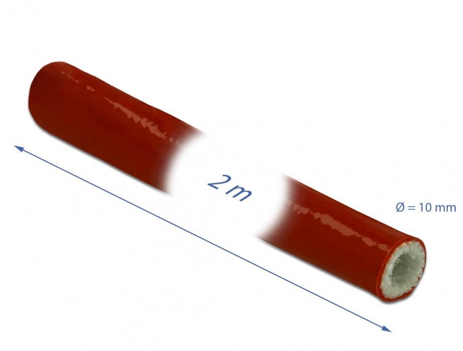 Imagine Manson anti-incendiu acoperit cu silicon 2m x 10mm Rosu, Delock 18897