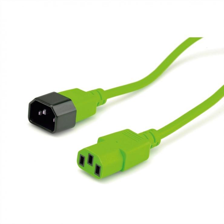 Imagine Cablu prelungitor alimentare IEC 320 C14 - C13 Verde 0.8m, Roline 19.08.1528