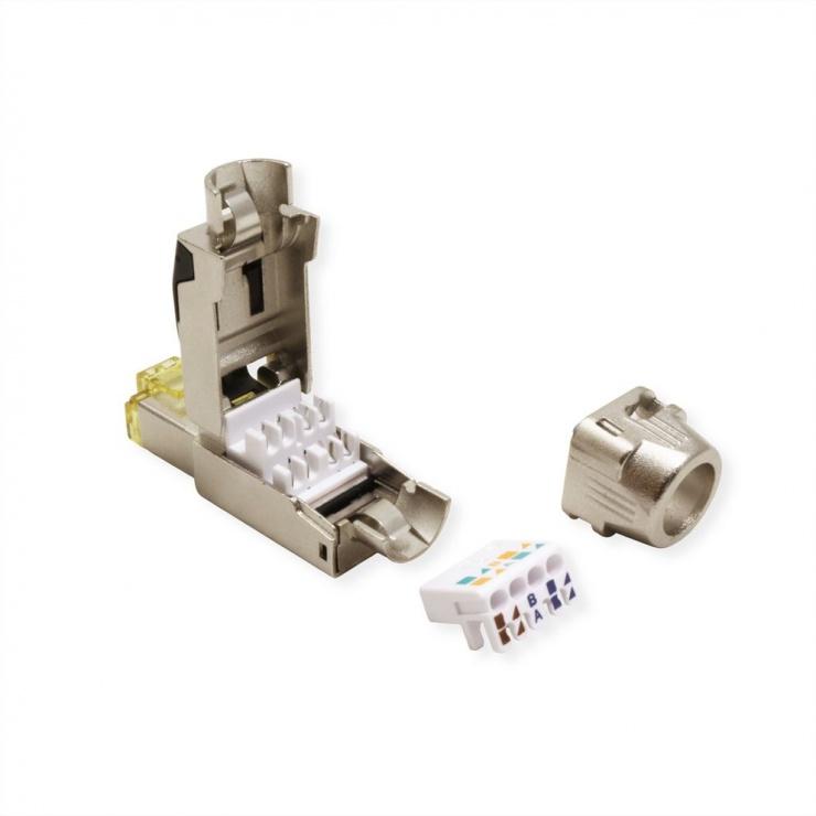 Imagine Conector RJ45 cat 8.1 pentru fir solid AWG 22 - 24, Roline 21.17.3086-3