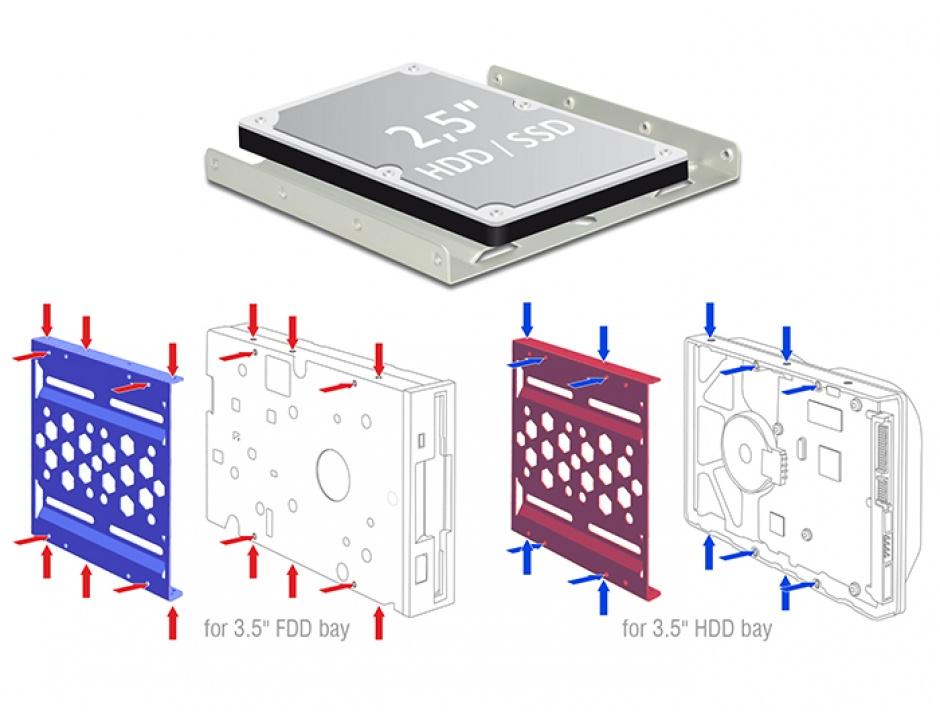 "Imagine Kit instalare HDD 2.5"" la 3.5"" aluminiu Negru, Delock 21287"