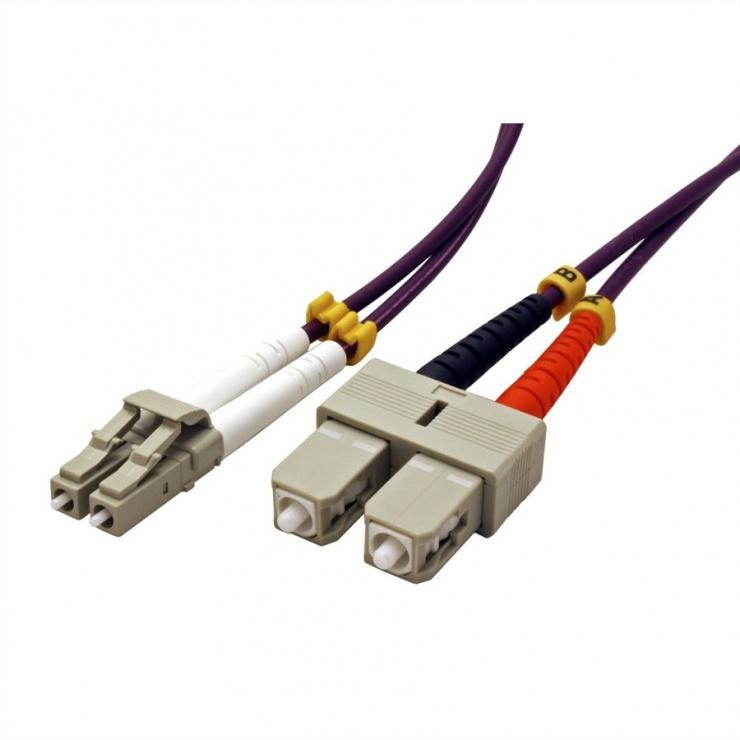 Imagine Cablu fibra optica LC-SC OM4 duplex multimode 0.5m, Value 21.99.8760-1