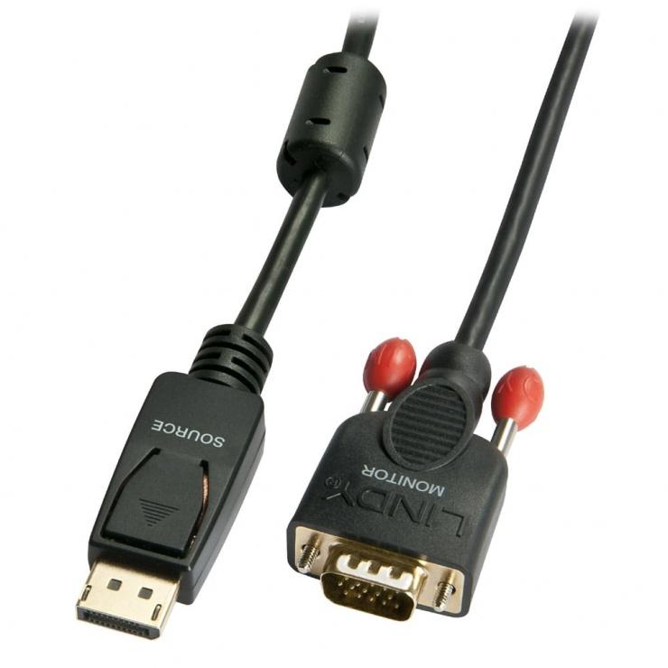 Imagine Cablu Displayport la VGA T-T Negru 3m, Lindy L41943