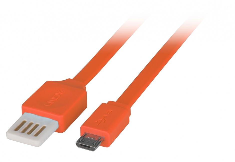 Imagine Cablu USB 2.0 la micro USB-B Flat reversibil 0.5m Orange, Lindy L30895