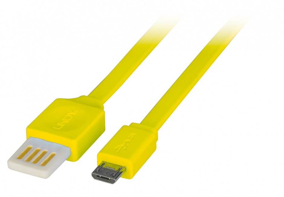 Imagine Cablu USB 2.0 la micro USB-B Flat reversibil 0.5m Galben, Lindy L30905