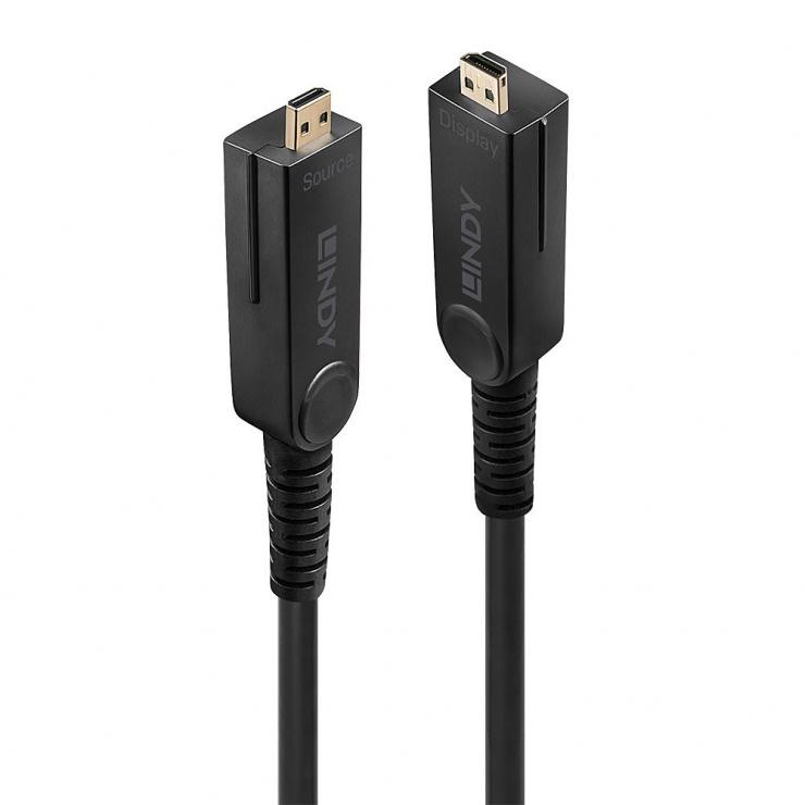 Imagine Cablu micro HDMI v2.0 4K60Hz Fibra optica Hybrid HDR - conectori HDMI, DVI detasabili T-T 30m, Lindy L38322