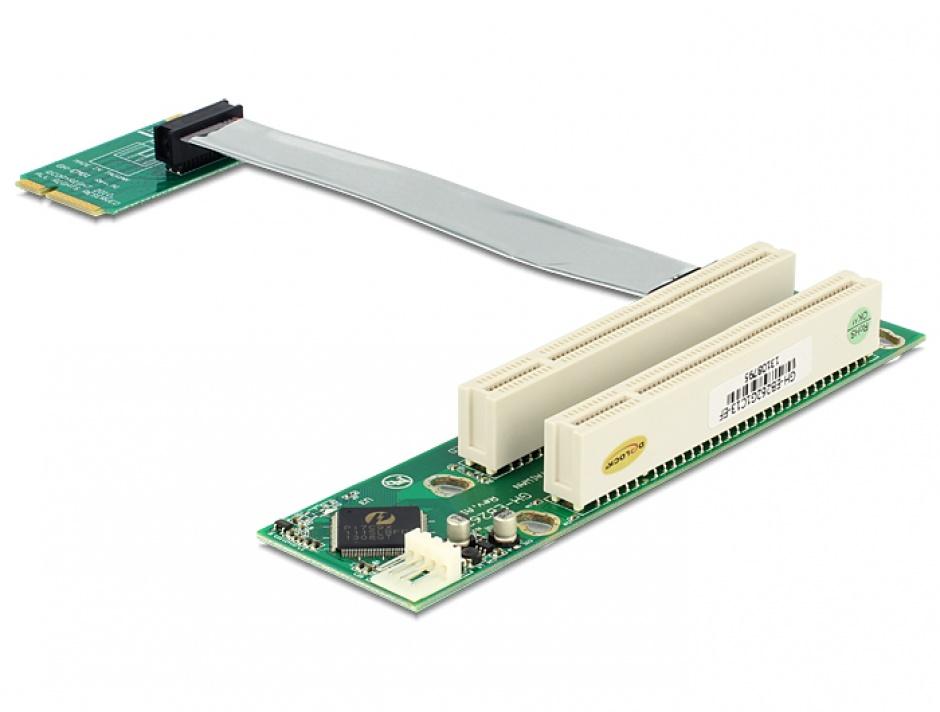 Imagine Riser Card Mini PCIe la 2 x PCI 32Biti 5V cablu flexibil, Delock 41355