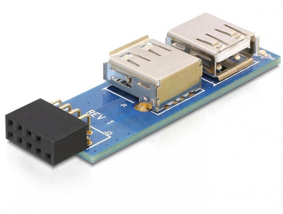 Imagine Adaptor pin header USB la 2 x USB 2.0 stanga/dreapta, Delock 41820