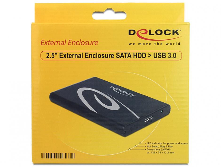 "Imagine Rack extern HDD 2.5"" SATA pana la 9.5mm la USB 3.0, Delock 42537"
