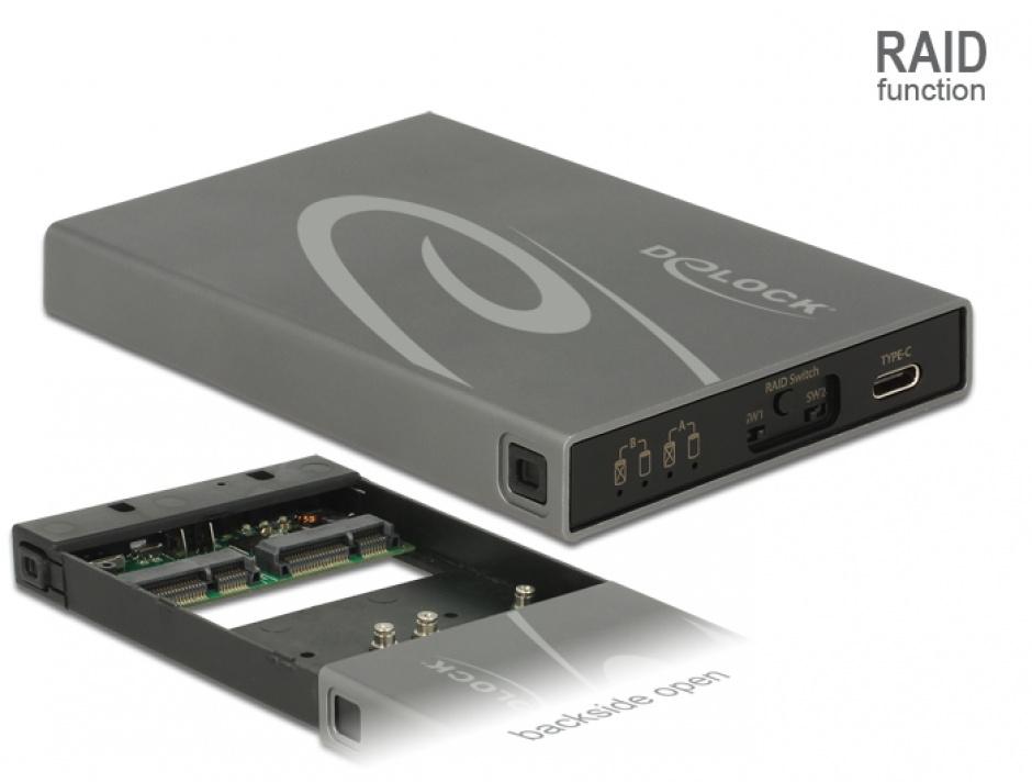 Imagine Rack extern 2 x mSATA SSD la USB 3.1 Gen 2 USB-C cu RAID, Delock 42590
