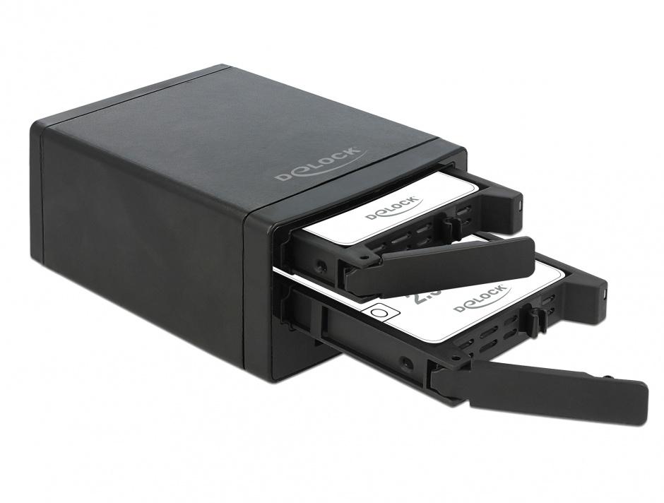 """Imagine Rack extern pentru 2 x 2.5"""" SATA HDD / SSD cu RAID + HUB 3 x USB 3.0, Delock 42606"""