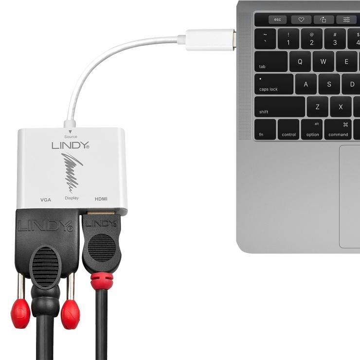 Imagine Adaptor USB 3.1 tip C la 4K HDMI & VGA, Lindy L43179