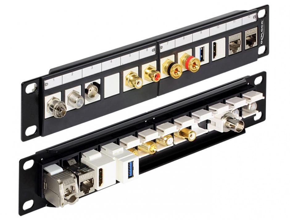 """Imagine Patch Panel 10"""" pentru keystone 12 porturi negru, Delock 43259"""
