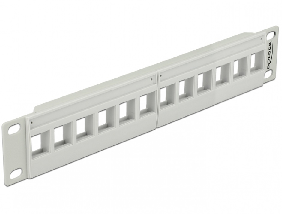 "Imagine Patch Panel 10"" pentru keystone 12 porturi gri, Delock 43309"