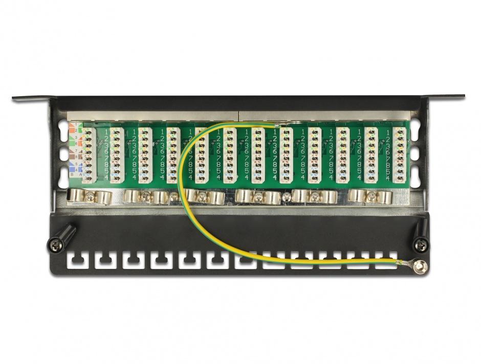 """Imagine Patch Panel 10"""" 12 porturi Cat.6A 0.5U negru, Delock 43312"""