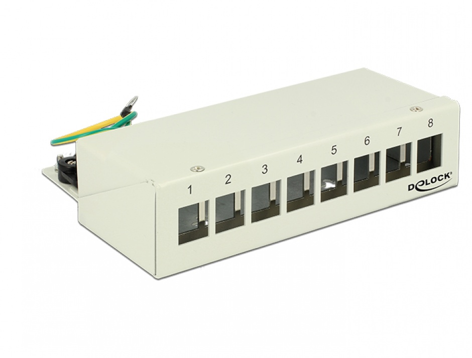 Imagine Patch Panel montare desktop pentru keystone 8 porturi gri, Delock 43336