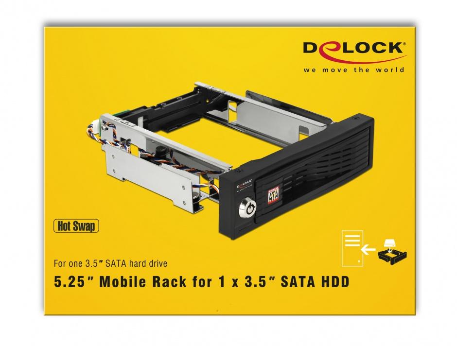 "Imagine Rack mobil intern 5.25"" pentru 3.5"" HDD SATA, Delock 47191"