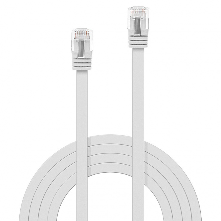 Imagine Cablu de retea cat 6 UTP Flat alb 1m, Lindy L47501