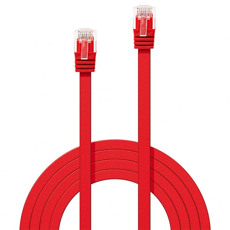 Imagine Cablu de retea cat 6 UTP Flat rosu 3m, Lindy L47513
