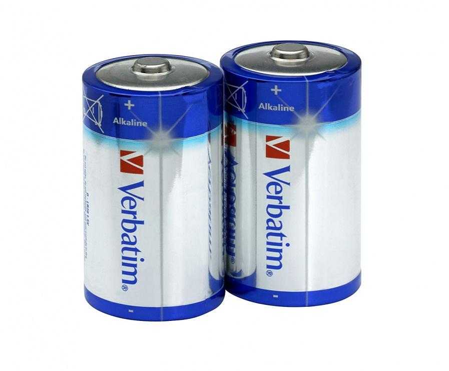 Imagine Set 2 baterii tip D alcaline, Verbatim 49923