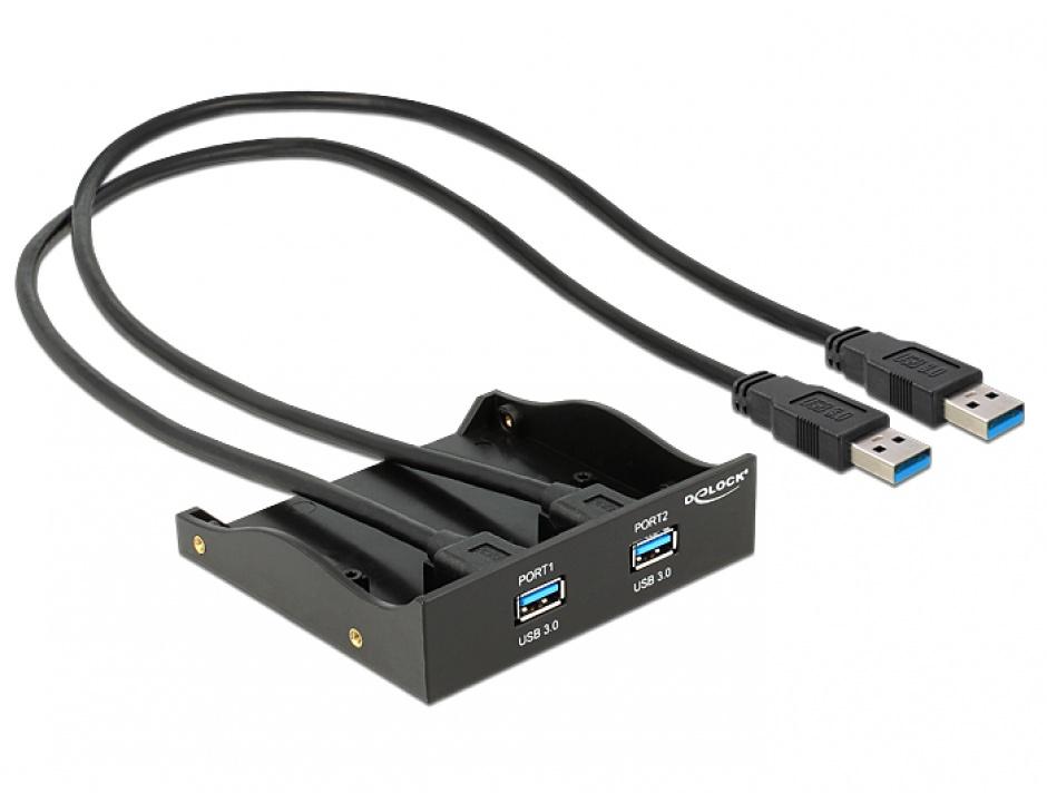 "Imagine Front Panel 5.25""/3.5"" cu 2 porturi USB 3.0, Delock 61828"