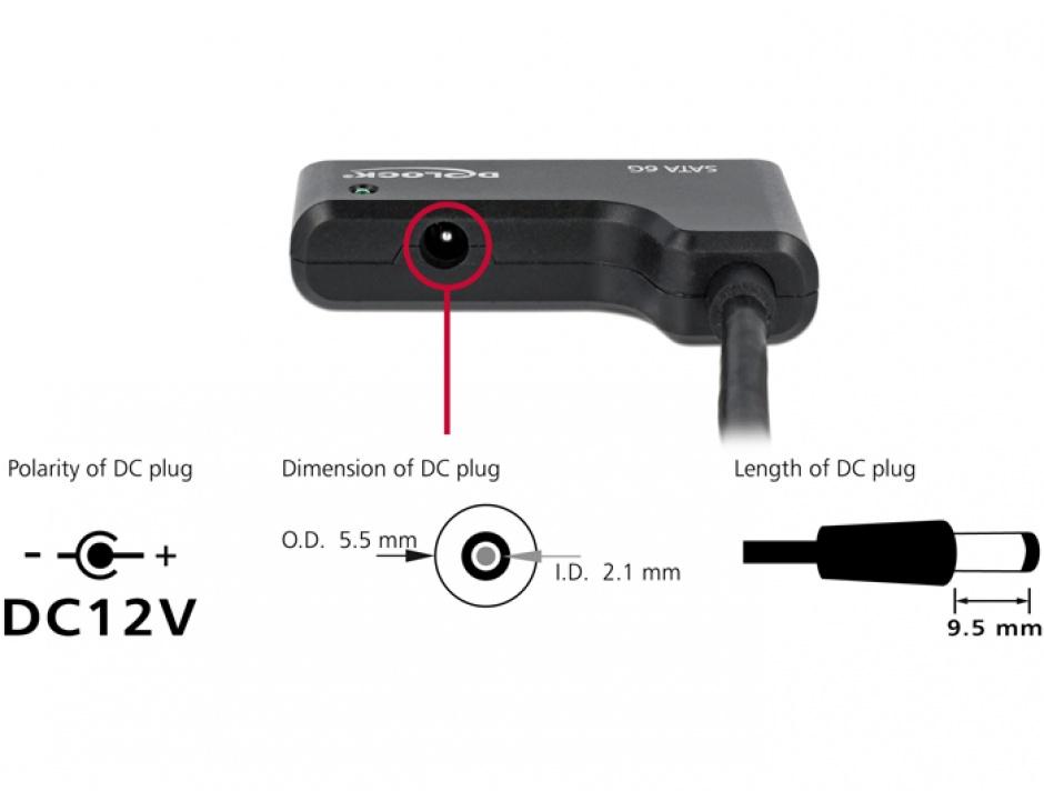 "Imagine Adaptor USB 3.0 la SATA III 6Gb/s 2.5""/3.5"" HDD, Delock 61882-3"