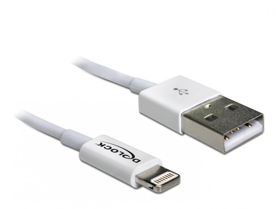 Imagine Cablu de date + incarcare Lightning MFI pentru iPhone, iPad, iPod Alb 1m, Delock 83560