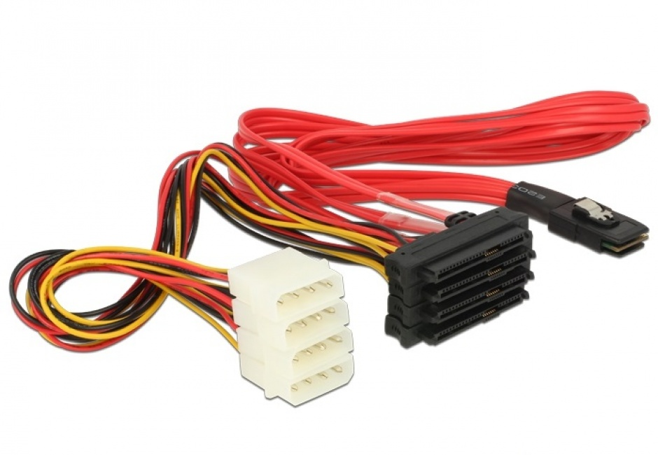 Imagine Cablu mini SAS SFF-8087 la 4 x SAS SFF-8482 + alimentare 50cm, Delock 83059-2
