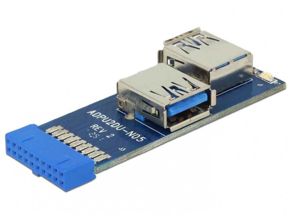 Imagine Adaptor intern la 2 porturi USB 3.0, Delock 41846