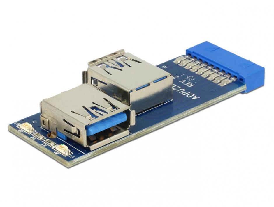 Imagine Adaptor intern la 2 porturi USB 3.0, Delock 41846-1