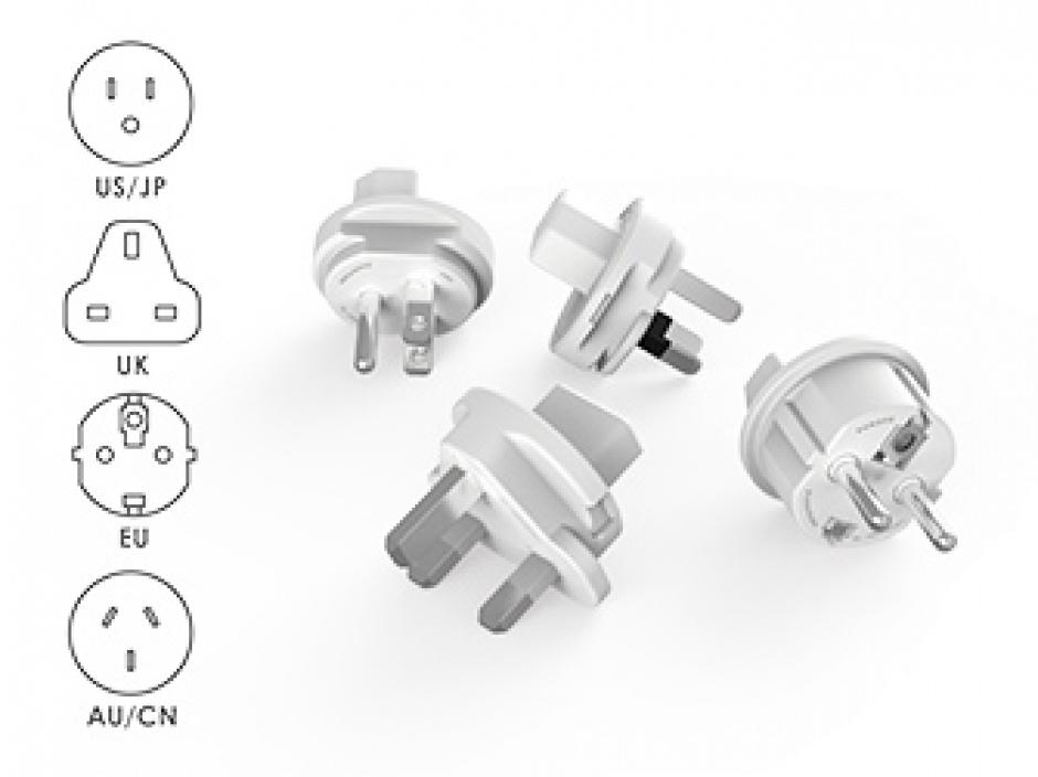 Imagine Prelungitor Power Cube ReWirable USB 4 prize + 2 x USB + 4 adaptoare priza, Allocacoc-5