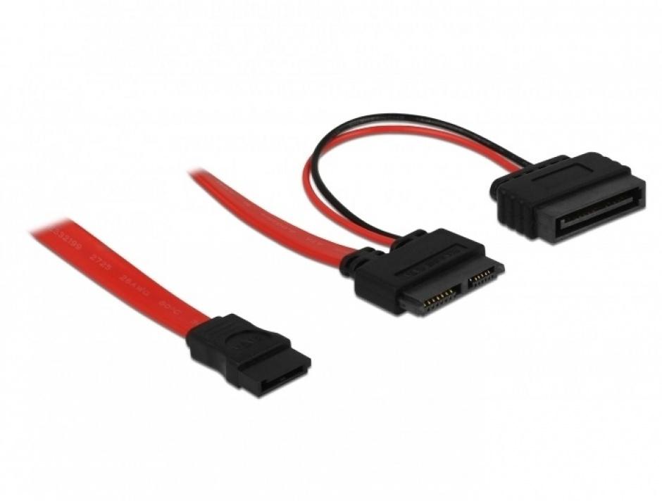 Imagine Cablu Slim SATA 13 pini la SATA 7 pini + alimentare 50cm, Delock 84418