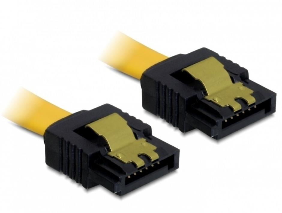Imagine Cablu SATA II 3 Gb/s drept cu fixare, 20 cm, Delock 82476