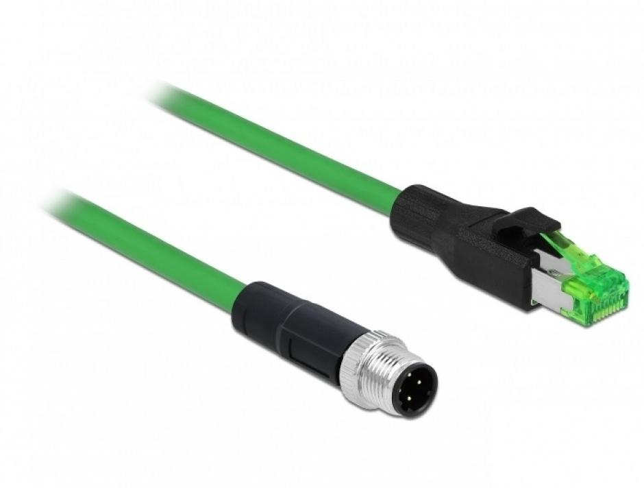 Imagine Cablu de retea M12 4 pini D-coded la RJ45 PVC 2m, Delock 85438