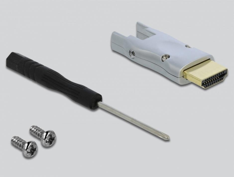 Imagine Cablu micro HDMI optic activ 4K@60Hz HDR - conectori HDMI detasabili T-T 10m Negru, Delock 85880