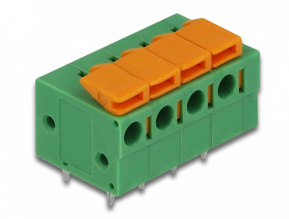 Imagine Set 4 buc bloc terminal pentru PCB 4 pini 5.08 mm pitch orizontal, Delock 66275