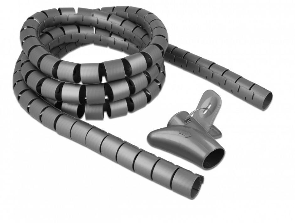 Imagine Organizator cabluri spiralat 2.5m x 30mm Gri, Delock 18846