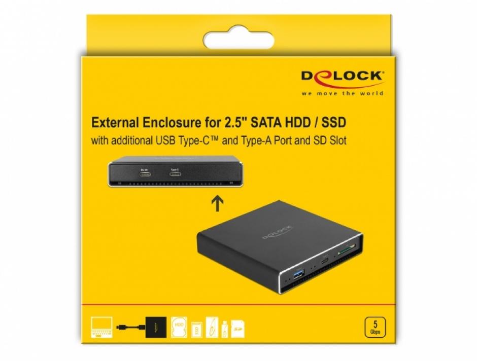 """Imagine Rack extern USB-C pentru SATA HDD / SSD 2.5"""" + USB-C + USB-A + slot SD, Delock 42618"""