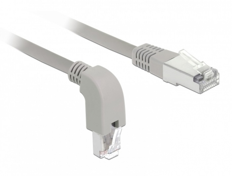 Imagine Cablu de retea RJ45 cat 6 S/FTP LSOH unghi jos/drept 2m Gri, Delock 85866