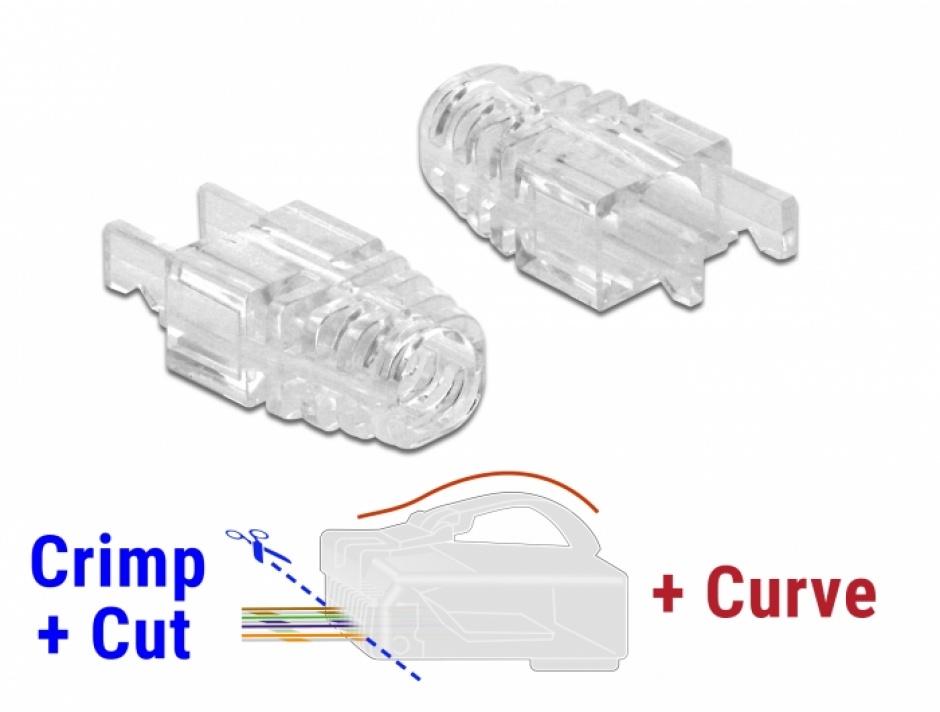 Imagine Set 20 buc manson pentru conector RJ45 Crimp+Cut+Curve, Delock 86471