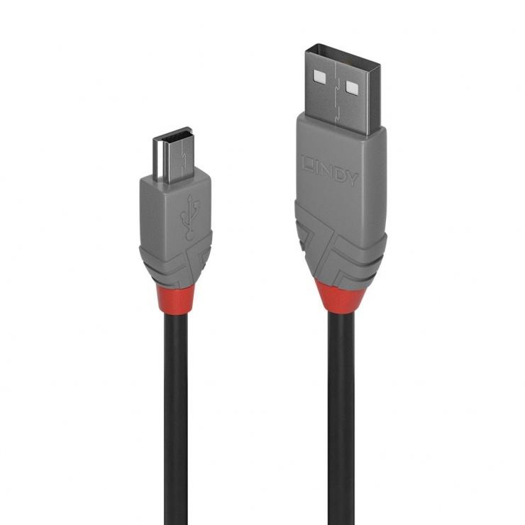 Imagine Cablu USB 2.0 la mini USB-B 5m T-T Anthra Line, Lindy L36725