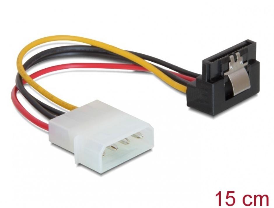 Imagine Cablu de alimentare SATA la Molex unghi cu fixare, Delock 60121
