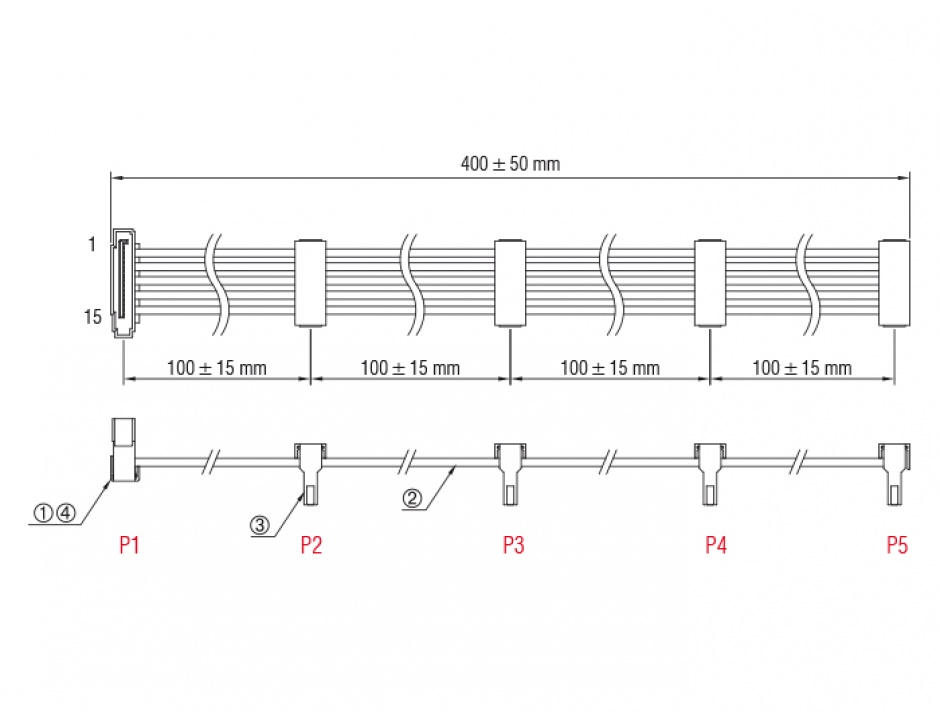 Imagine Cablu de alimentare SATA la 4 x SATA 15 pini 40cm Negru, Delock 60144