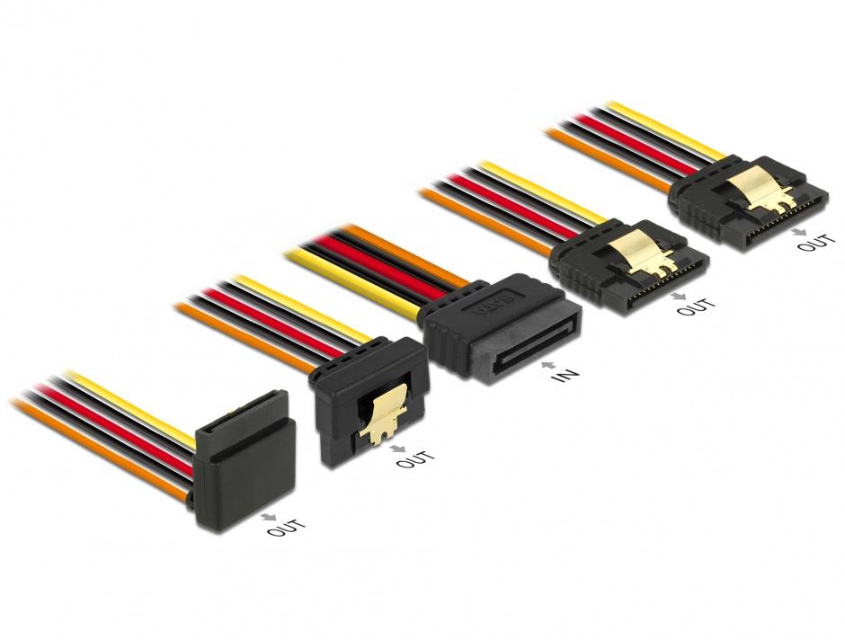 Imagine Cablu de alimentare SATA 15 pini la 2 x SATA drepte + 1 x unghi sus + 1 x unghi jos 15cm, Delock 60147