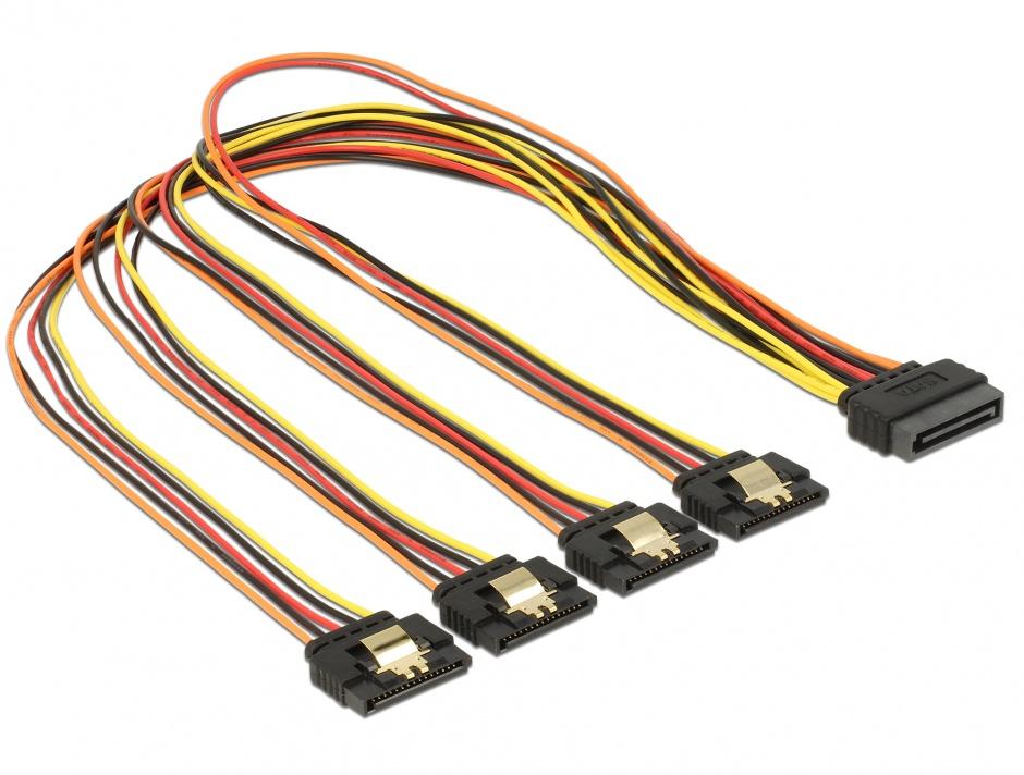 Imagine Cablu de alimentare SATA 15 pini la 4 x SATA 50cm, Delock 60158