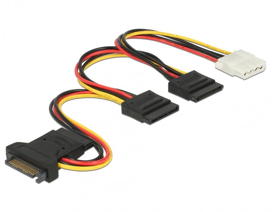 Imagine Cablu de alimentare SATA 15 pini la 3 x SATA 15 pini + 1 x Molex 20cm PCB, Delock 60171