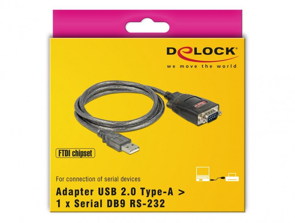 Imagine Cablu USB la Serial RS232 FTDI 1m, Delock 61364