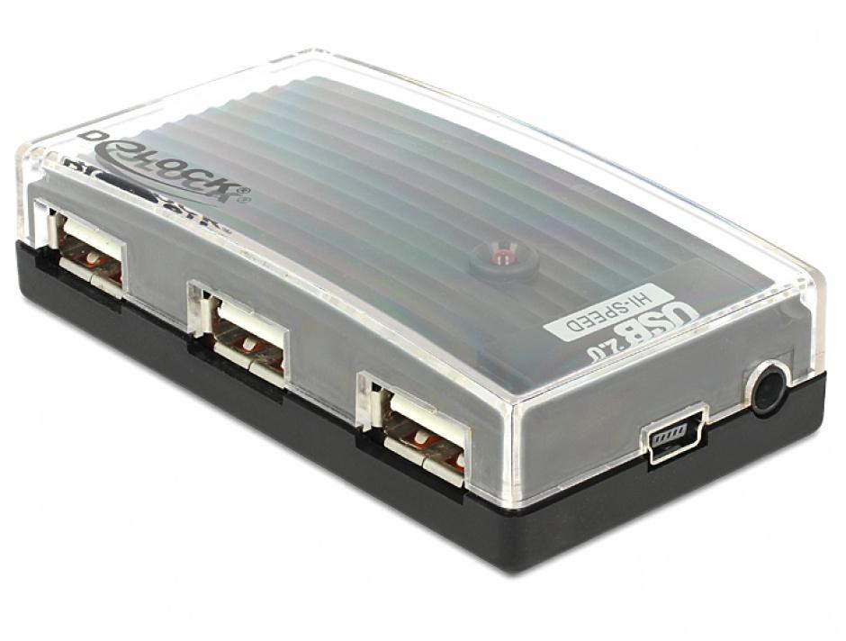 Imagine Hub USB 2.0 extern 4 Port + alimentare, Delock 61393