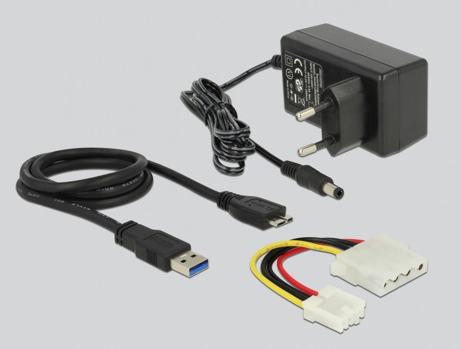 Imagine Adaptor portabil USB 3.0 la SATA III/IDE 40 pini/44 pini Functie Back-up, Delock 61486