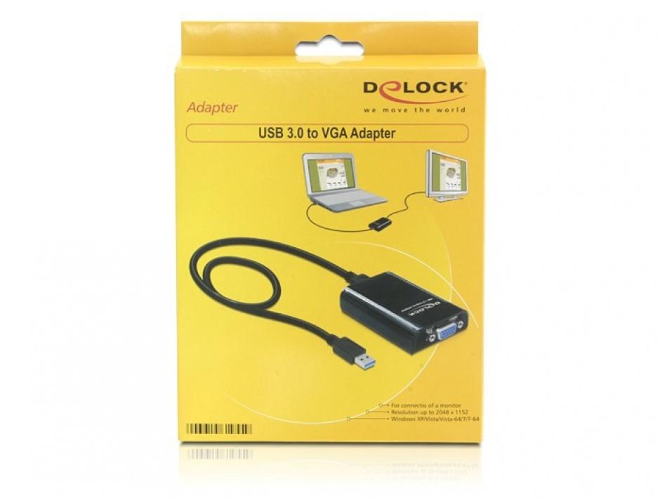 Imagine Adaptor USB 3.0 la VGA, Delock 61955
